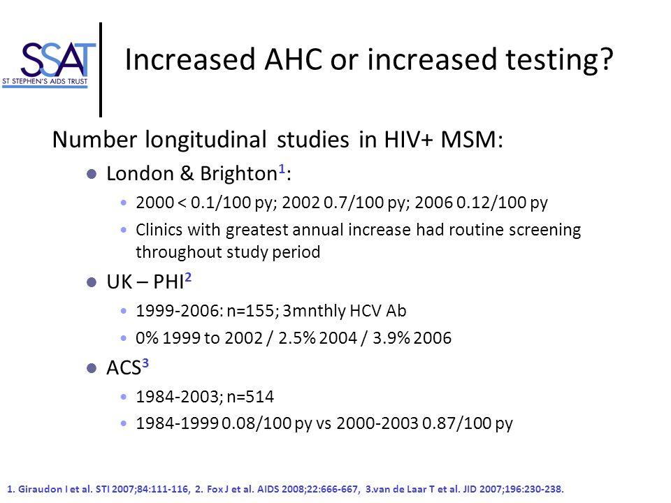 Increased AHC or increased testing? Number longitudinal studies in HIV+ MSM: London & Brighton 1 : 2000 < 0.1/100 py; 2002 0.7/100 py; 2006 0.12/100 p