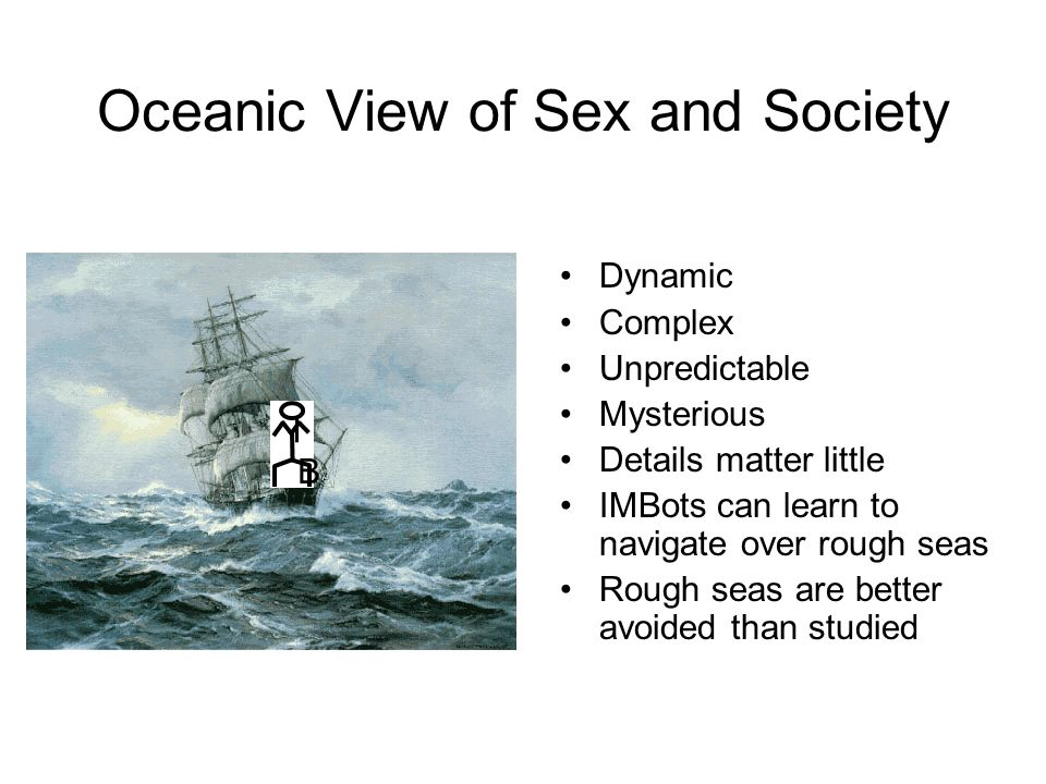Oceanic View of Sex and Society Dynamic Complex Unpredictable Mysterious Details matter little IMBots can learn to navigate over rough seas Rough seas are better avoided than studied I B