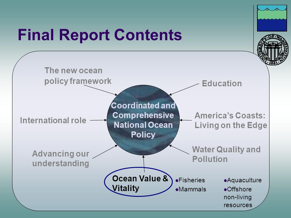 Final Report Contents Coordinated and Comprehensive National Ocean Policy Advancing our understanding Education Americas Coasts: Living on the Edge Wa