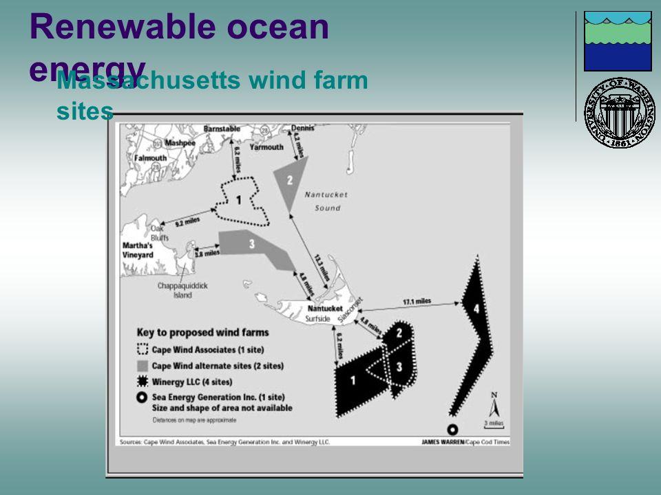 Renewable ocean energy Massachusetts wind farm sites