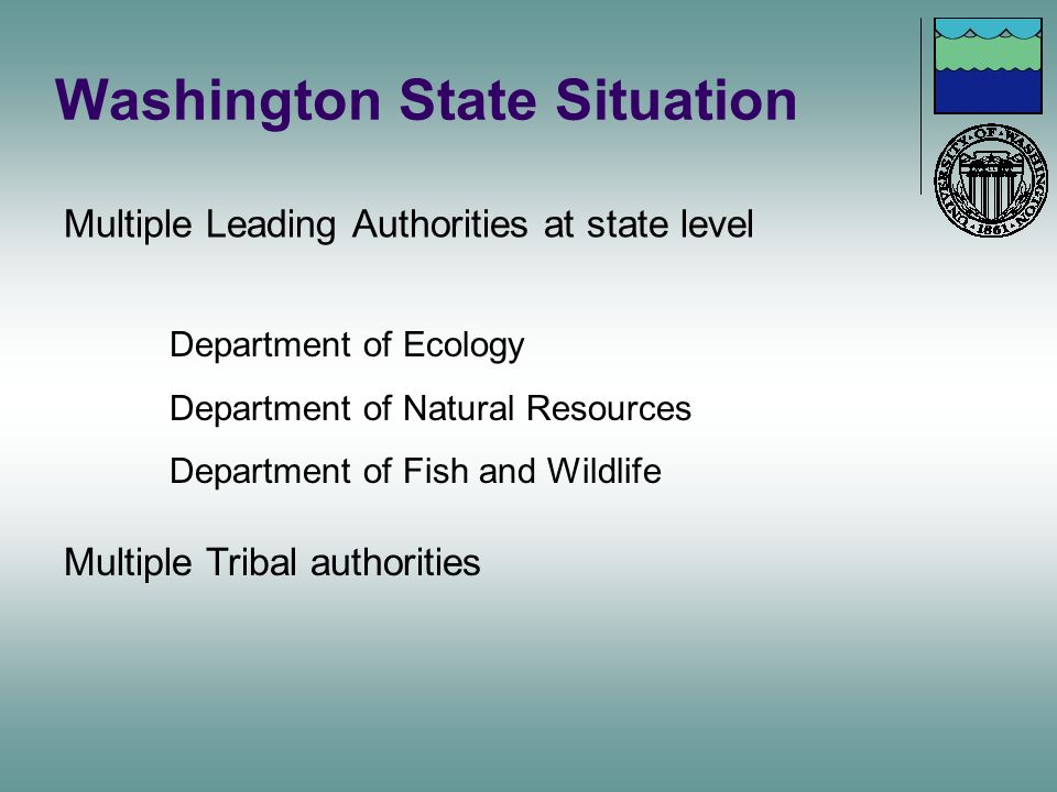 Washington State Situation Multiple Leading Authorities at state level Department of Ecology Department of Natural Resources Department of Fish and Wi