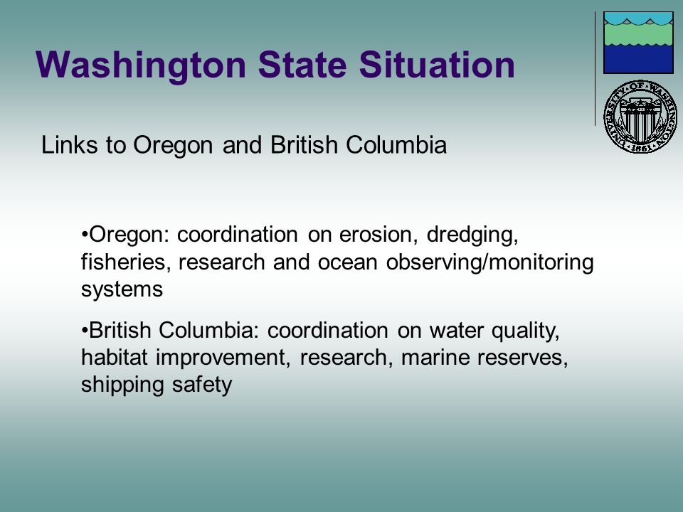 Washington State Situation Links to Oregon and British Columbia Oregon: coordination on erosion, dredging, fisheries, research and ocean observing/mon