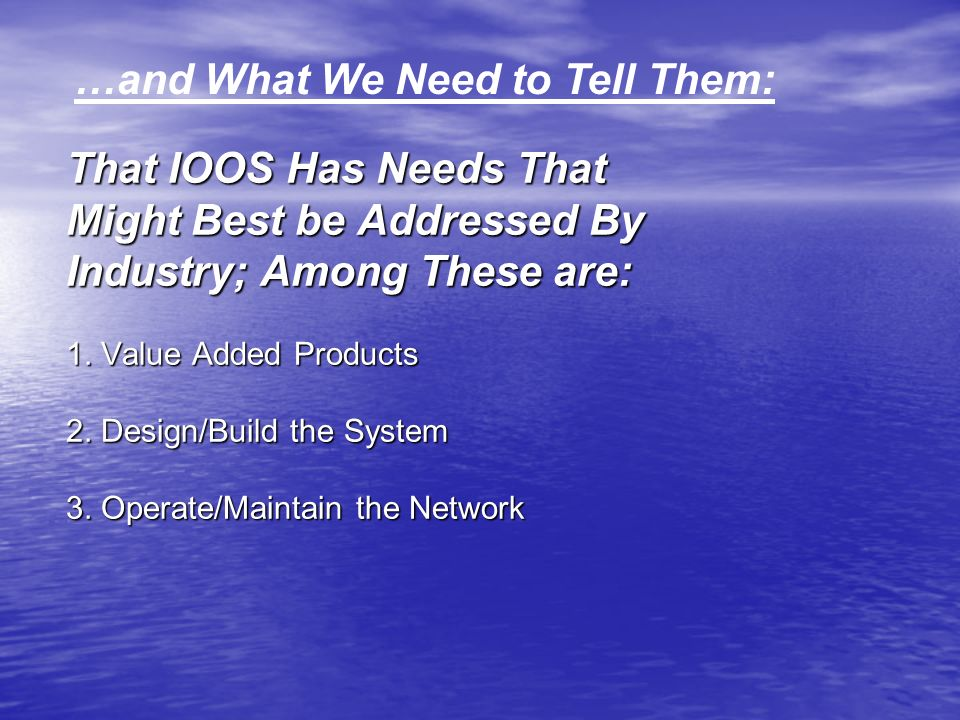 That IOOS Has Needs That Might Best be Addressed By Industry; Among These are: 1.