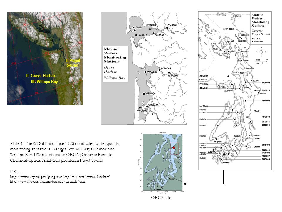 I. Puget Sound III. Willapa Bay II. Grays Harbor Plate 4: The WDoE has since 1973 conducted water quality monitoring at stations in Puget Sound, Grays