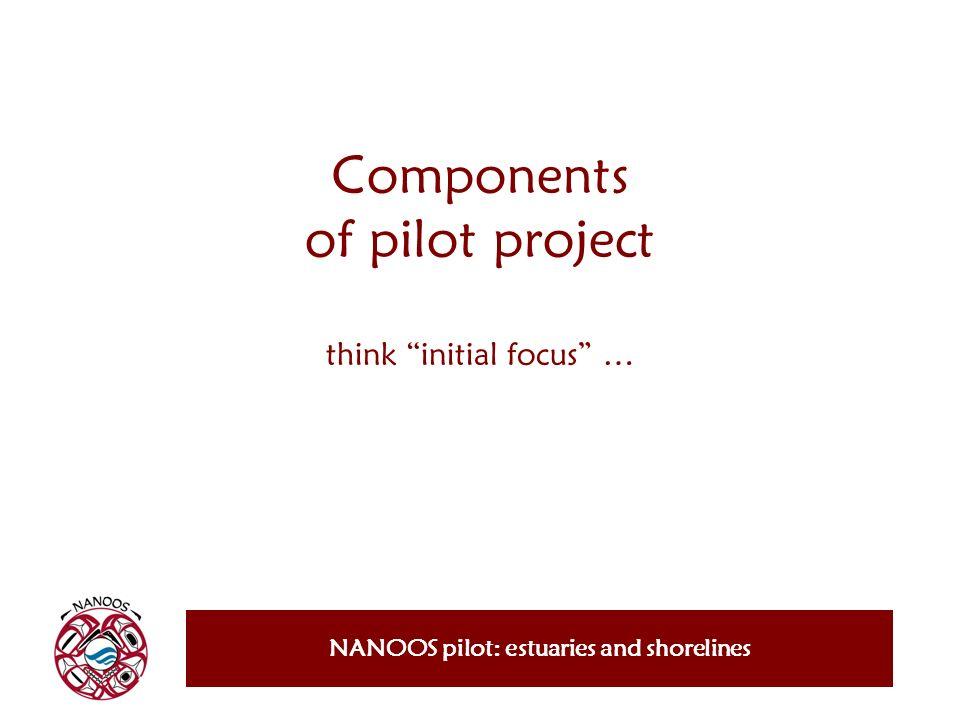 Components of pilot project think initial focus … NANOOS pilot: estuaries and shorelines