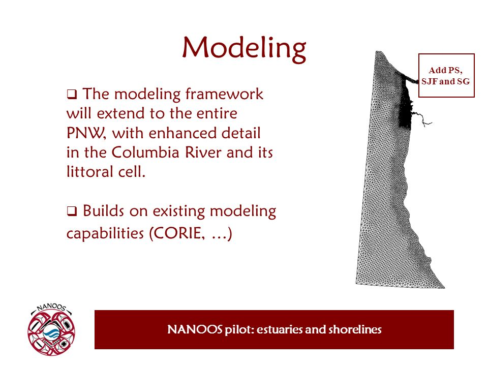 The modeling framework will extend to the entire PNW, with enhanced detail in the Columbia River and its littoral cell. Builds on existing modeling ca