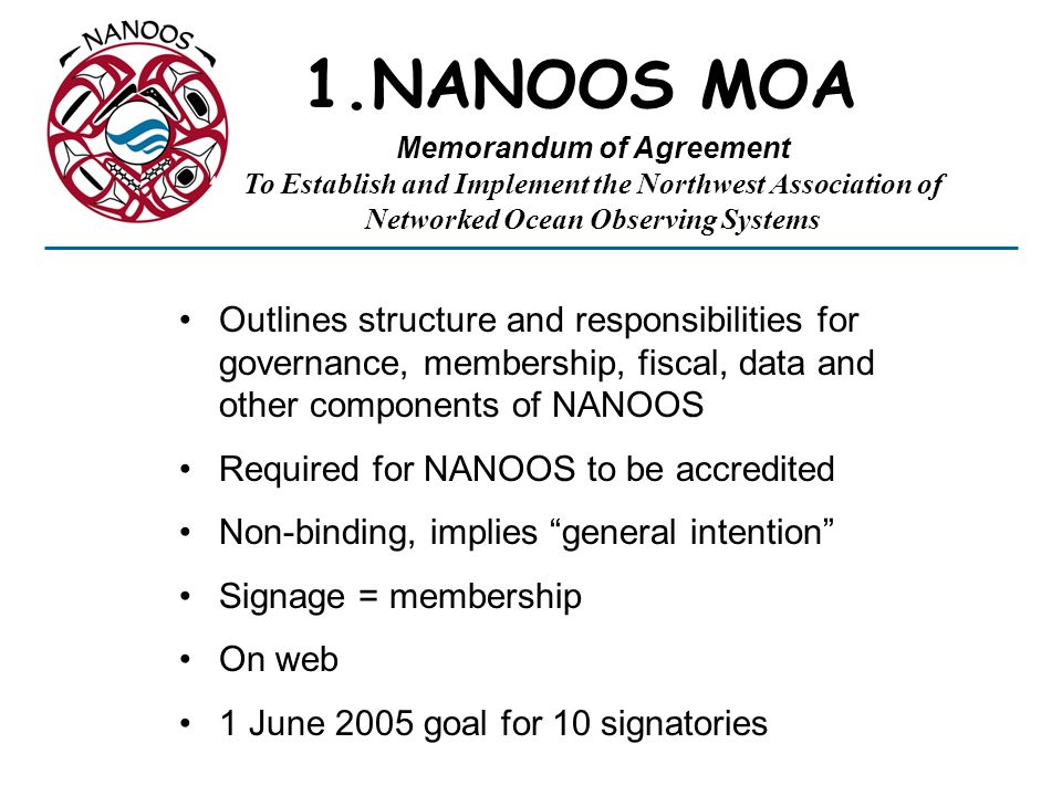 1.NANOOS MOA Outlines structure and responsibilities for governance, membership, fiscal, data and other components of NANOOS Required for NANOOS to be accredited Non-binding, implies general intention Signage = membership On web 1 June 2005 goal for 10 signatories Memorandum of Agreement To Establish and Implement the Northwest Association of Networked Ocean Observing Systems