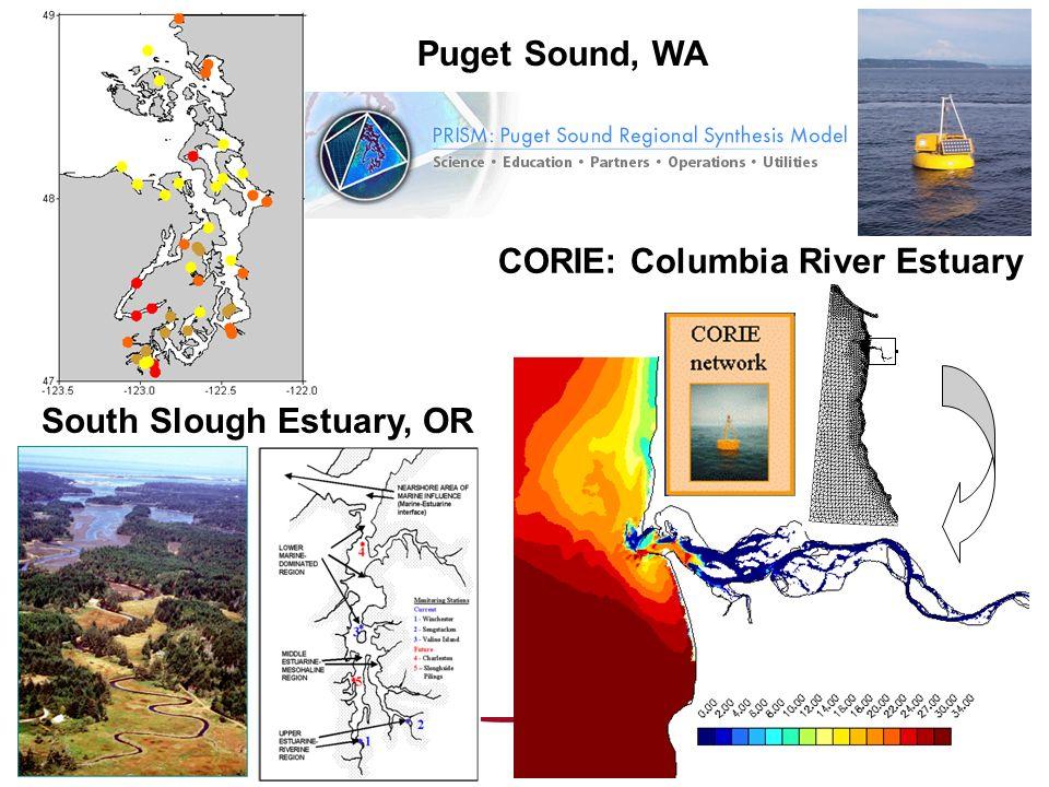 CORIE: Columbia River Estuary South Slough Estuary, OR Puget Sound, WA
