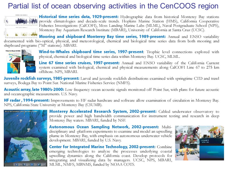 Partial list of ocean observing activities in the CenCOOS region