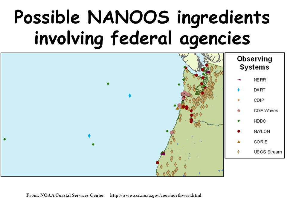 Possible NANOOS ingredients involving federal agencies From: NOAA Coastal Services Center http://www.csc.noaa.gov/coos/northwest.html