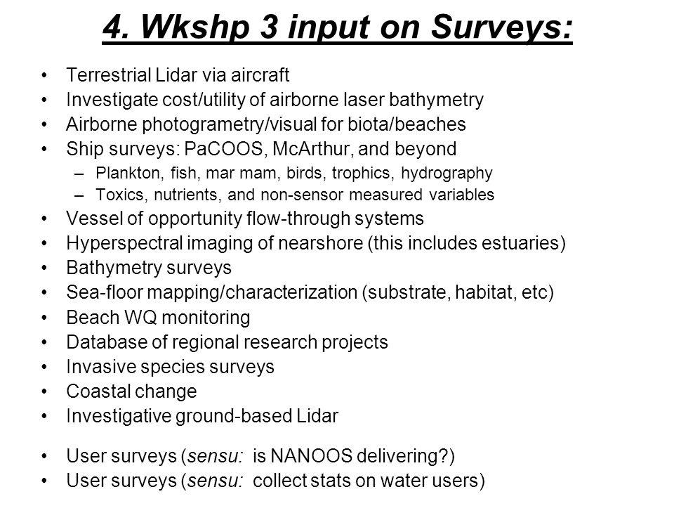 4. Wkshp 3 input on Surveys: Terrestrial Lidar via aircraft Investigate cost/utility of airborne laser bathymetry Airborne photogrametry/visual for bi