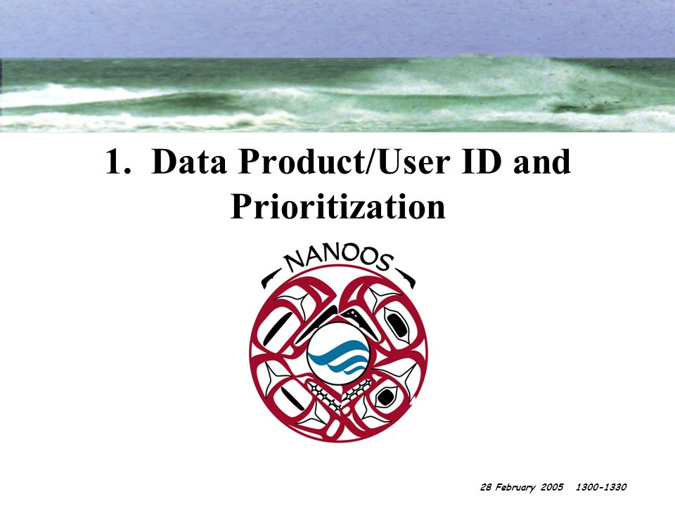 1. Data Product/User ID and Prioritization 28 February 2005 1300-1330
