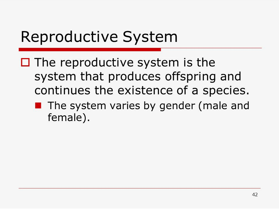 42 Reproductive System The reproductive system is the system that produces offspring and continues the existence of a species. The system varies by ge
