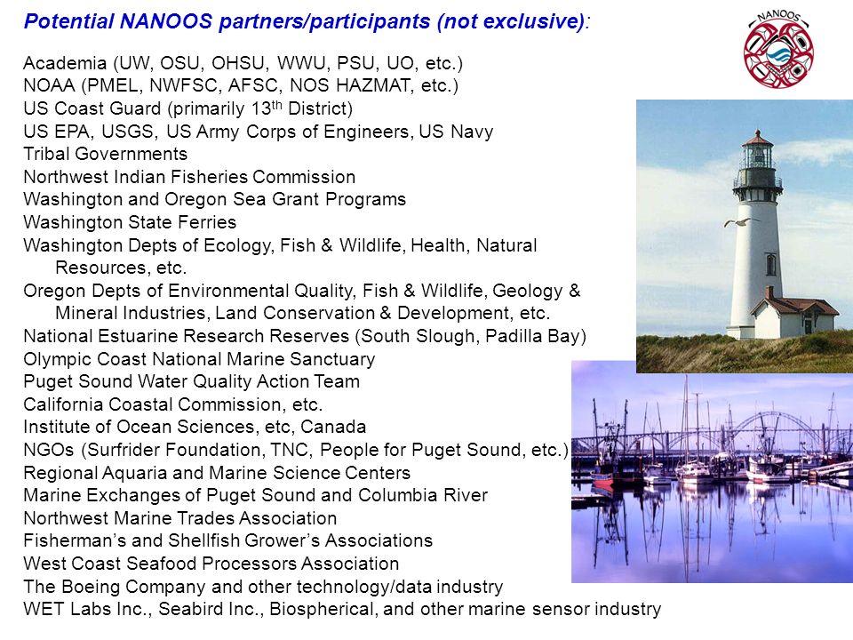 Potential NANOOS partners/participants (not exclusive): Academia (UW, OSU, OHSU, WWU, PSU, UO, etc.) NOAA (PMEL, NWFSC, AFSC, NOS HAZMAT, etc.) US Coa