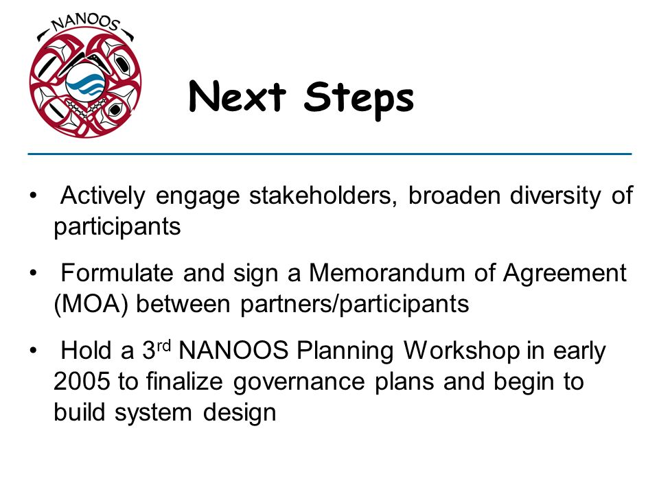Actively engage stakeholders, broaden diversity of participants Formulate and sign a Memorandum of Agreement (MOA) between partners/participants Hold