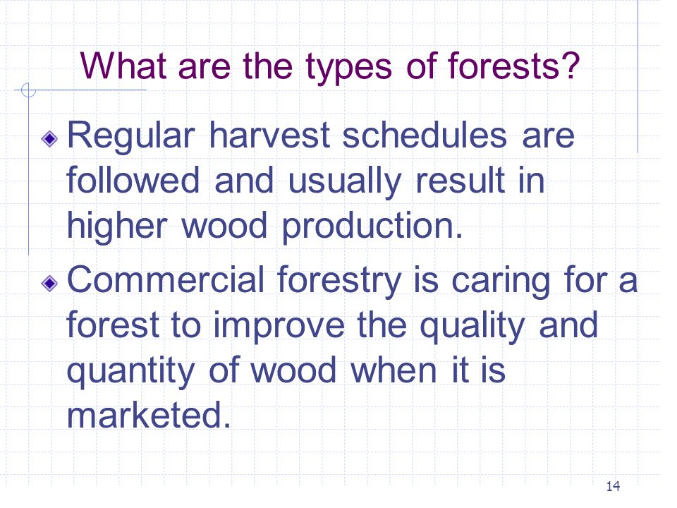 14 What are the types of forests? Regular harvest schedules are followed and usually result in higher wood production. Commercial forestry is caring f