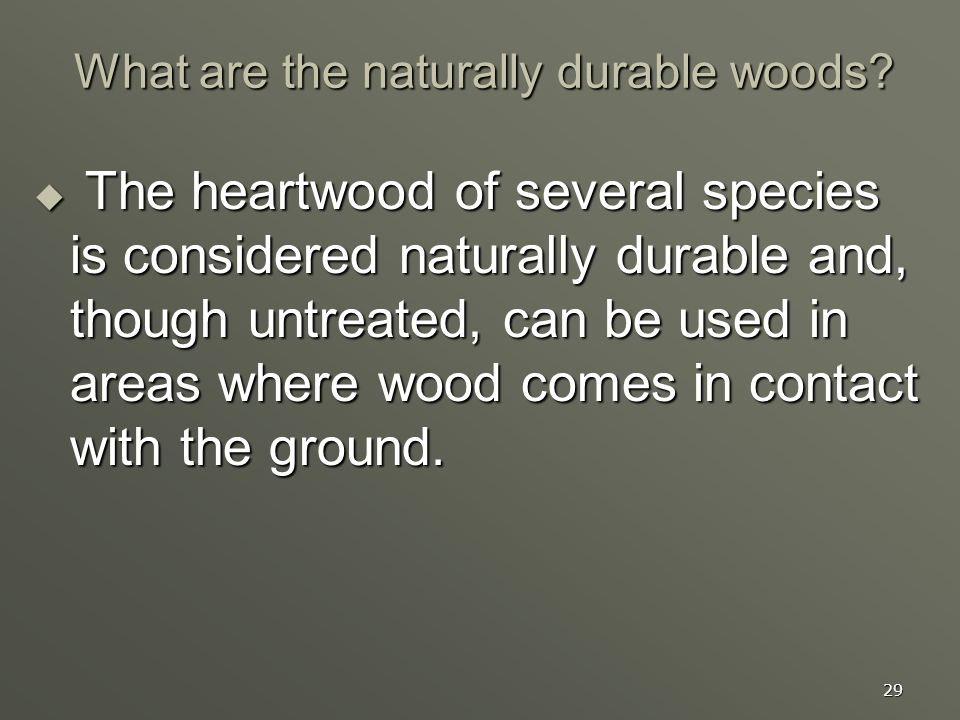 29 What are the naturally durable woods? The heartwood of several species is considered naturally durable and, though untreated, can be used in areas
