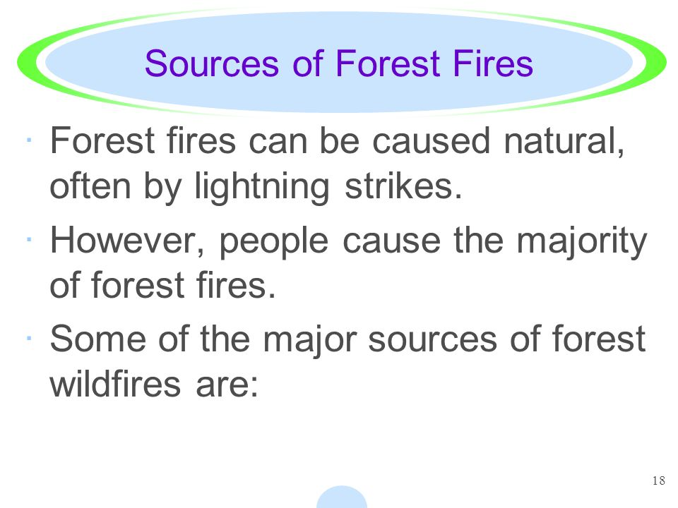 18 Sources of Forest Fires ·Forest fires can be caused natural, often by lightning strikes. ·However, people cause the majority of forest fires. ·Some