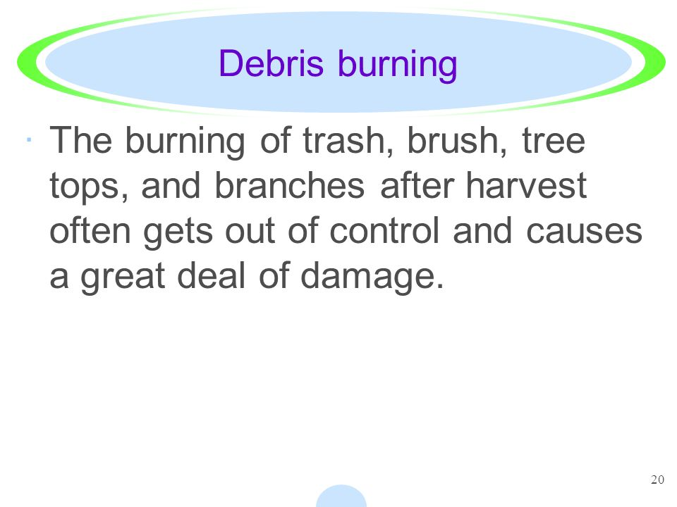20 Debris burning ·The burning of trash, brush, tree tops, and branches after harvest often gets out of control and causes a great deal of damage.