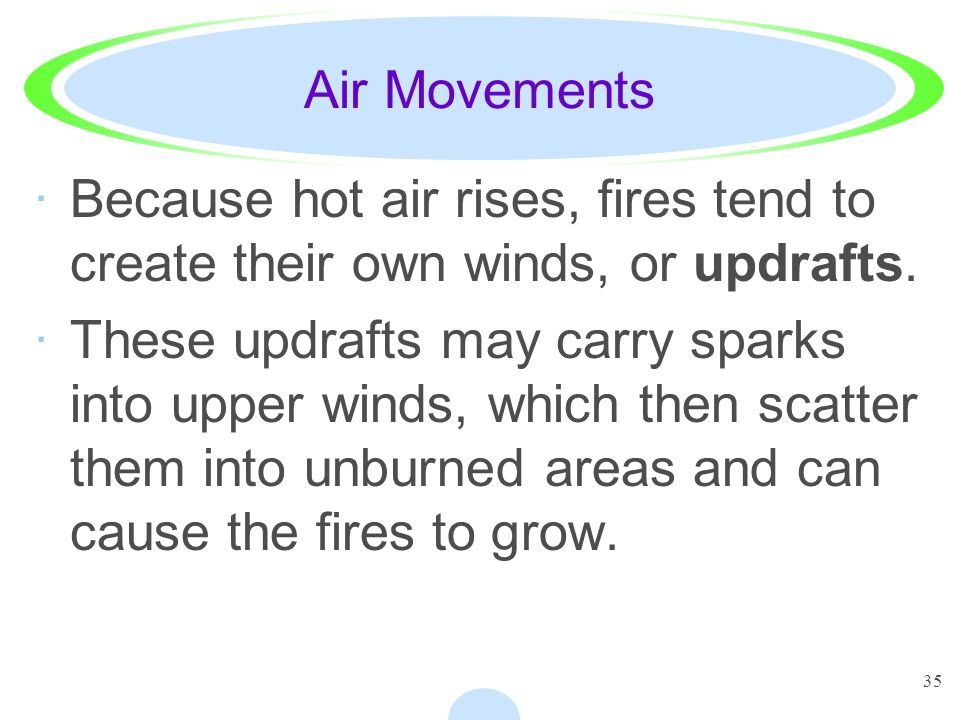 35 Air Movements ·Because hot air rises, fires tend to create their own winds, or updrafts. ·These updrafts may carry sparks into upper winds, which t