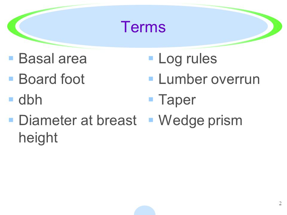 2 Terms Basal area Board foot dbh Diameter at breast height Log rules Lumber overrun Taper Wedge prism