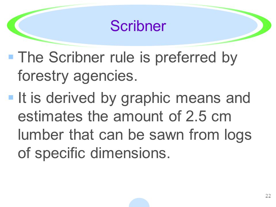 22 Scribner The Scribner rule is preferred by forestry agencies.