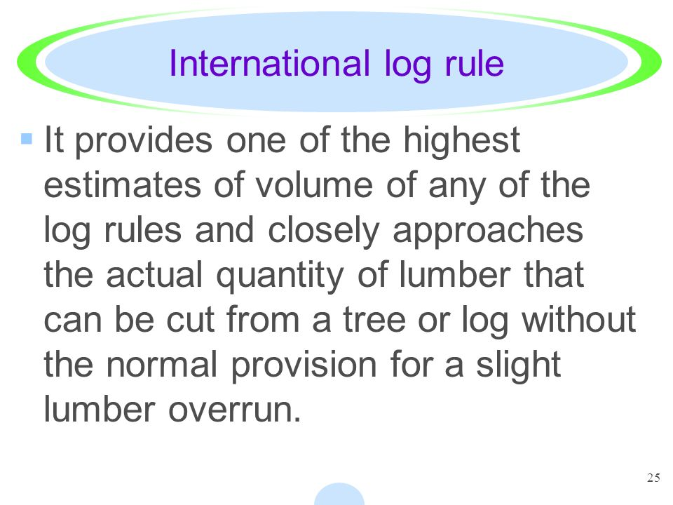 25 International log rule It provides one of the highest estimates of volume of any of the log rules and closely approaches the actual quantity of lumber that can be cut from a tree or log without the normal provision for a slight lumber overrun.