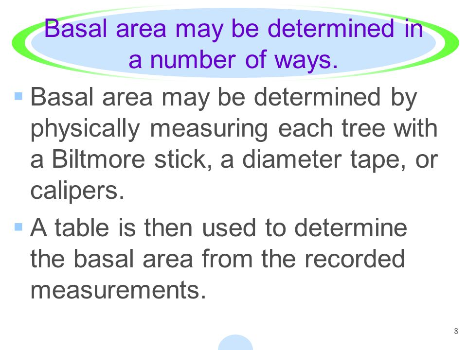 8 Basal area may be determined in a number of ways.