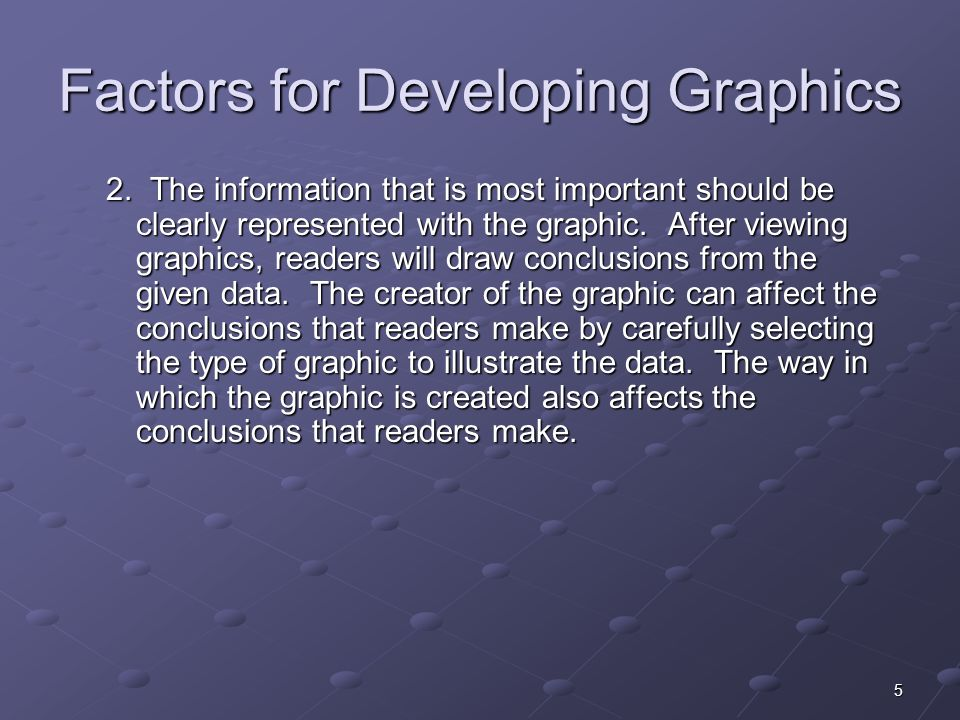 5 Factors for Developing Graphics 2.