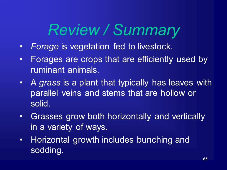 65 Review / Summary Forage is vegetation fed to livestock. Forages are crops that are efficiently used by ruminant animals. A grass is a plant that ty