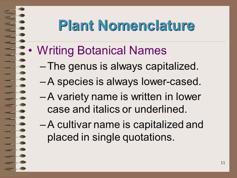 11 Plant Nomenclature Writing Botanical Names –The genus is always capitalized.