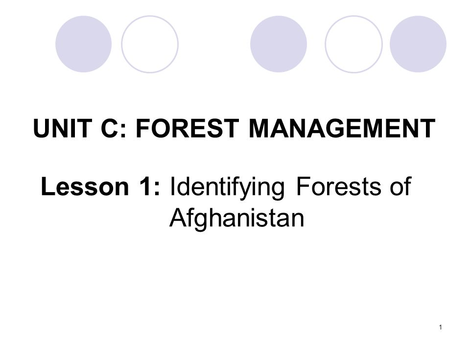 UNIT C: FOREST MANAGEMENT Lesson 1: Identifying Forests of Afghanistan 1