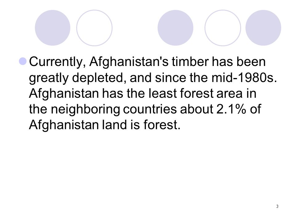 3 Currently, Afghanistan's timber has been greatly depleted, and since the mid-1980s. Afghanistan has the least forest area in the neighboring countri