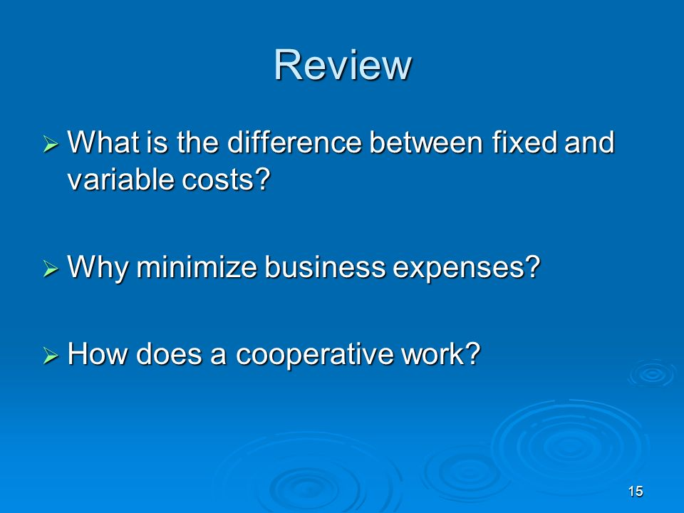 15 Review What is the difference between fixed and variable costs? What is the difference between fixed and variable costs? Why minimize business expe