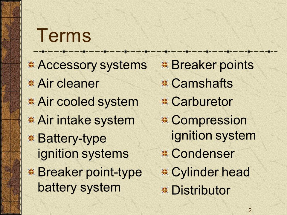 2 Terms Accessory systems Air cleaner Air cooled system Air intake system Battery-type ignition systems Breaker point-type battery system Breaker poin