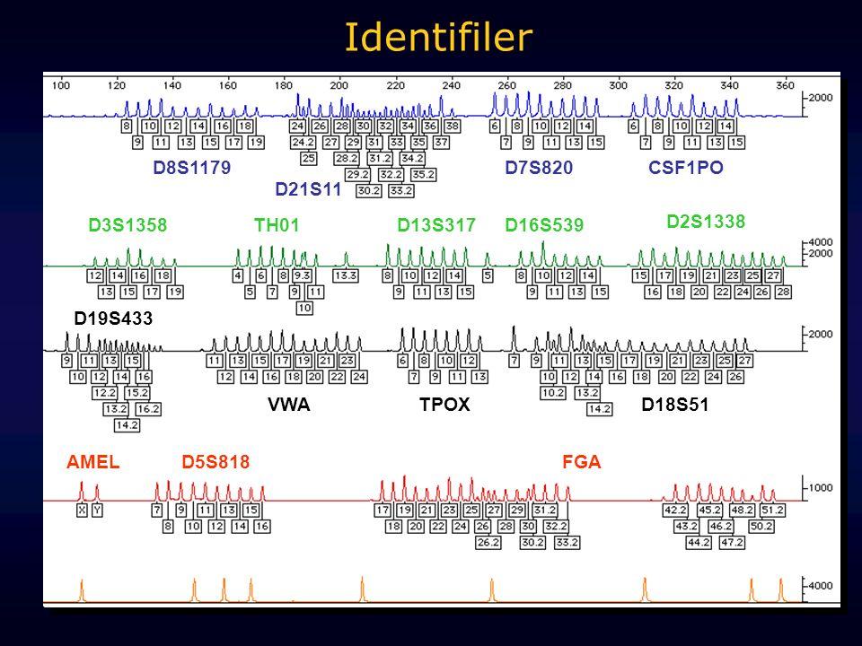 D3S1358D16S539 VWA AMEL D8S1179 D21S11 D18S51 D19S433 D5S818FGA D2S1338 TPOX TH01D13S317 CSF1POD7S820 Identifiler