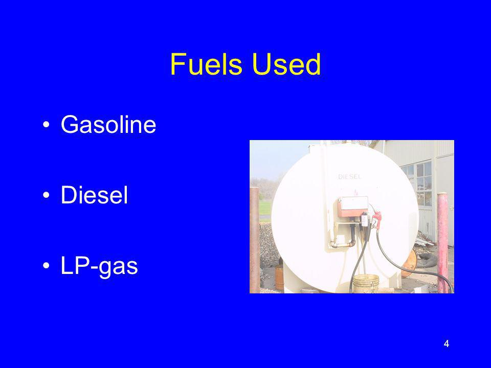 Quality of fuel Oxidative stability –tendency of gasoline to form gum in storage most gasoline is stabilized by antioxidants freedom from dirt and moisture depends on handling & storing additives added to raise octane number, reduce spark plug fouling, gum formation, rust, and deposits in intake system 15