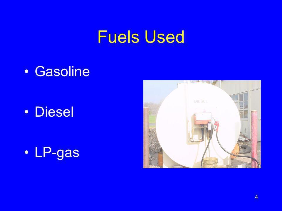Fuels Used Gasoline Diesel LP-gas 4