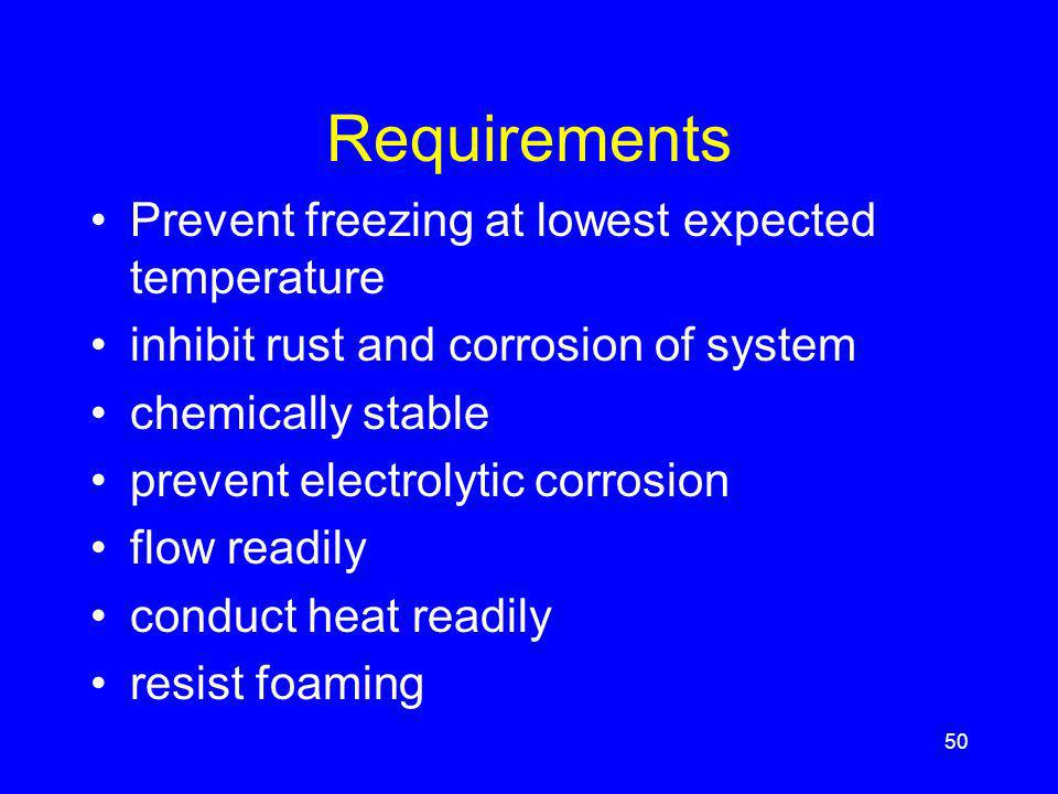 Requirements Prevent freezing at lowest expected temperature inhibit rust and corrosion of system chemically stable prevent electrolytic corrosion flow readily conduct heat readily resist foaming 50