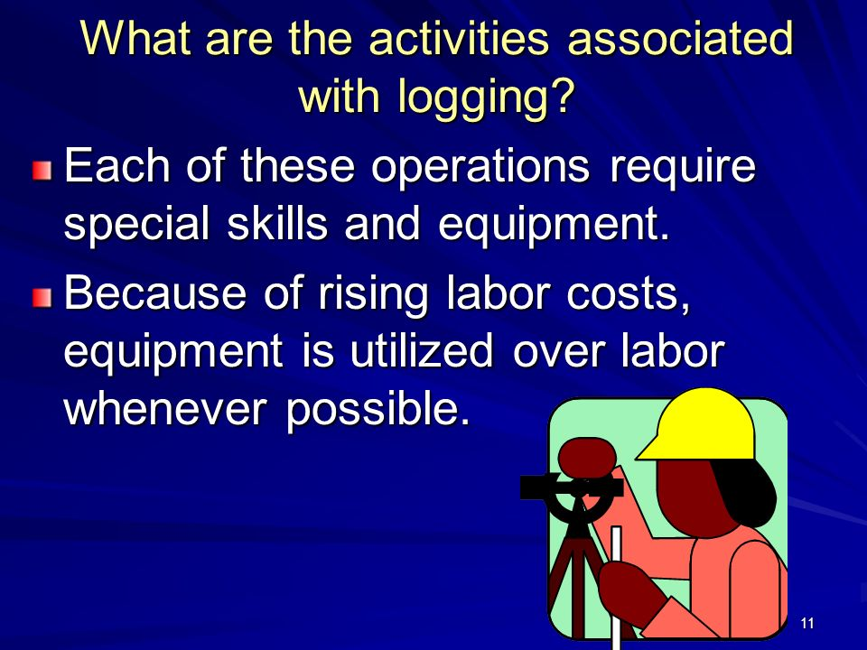 11 What are the activities associated with logging.