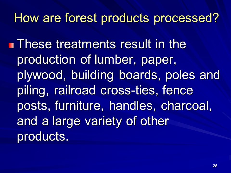 28 How are forest products processed.