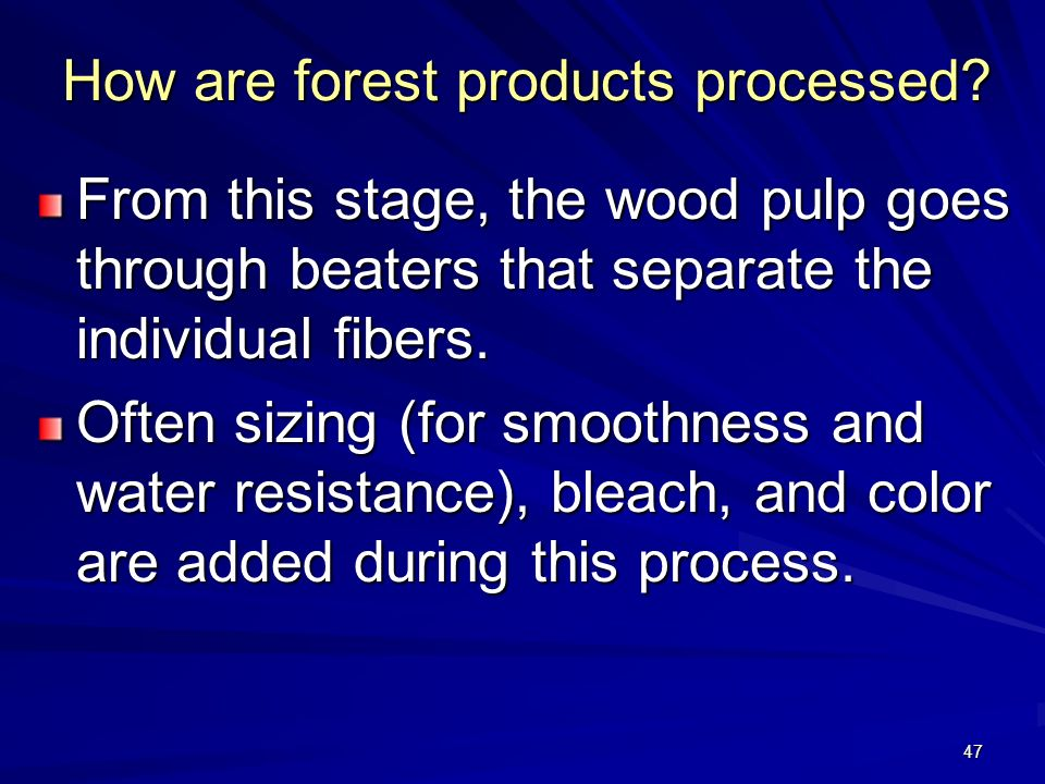 47 How are forest products processed.