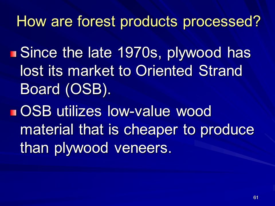 61 How are forest products processed.