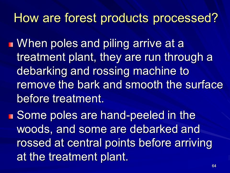 64 How are forest products processed.