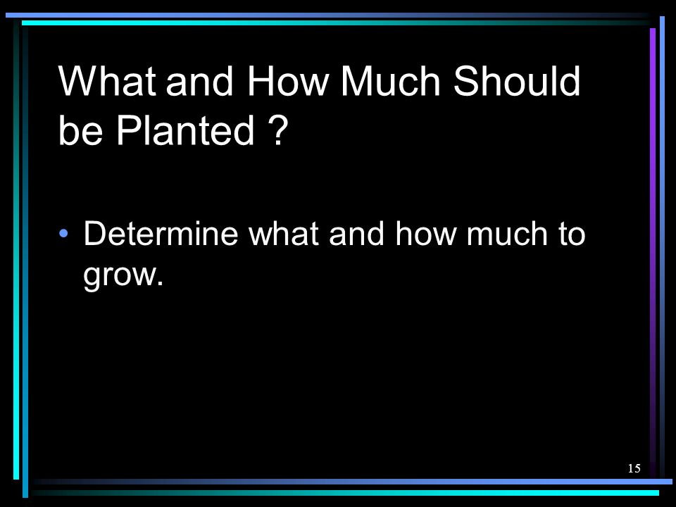 15 What and How Much Should be Planted ? Determine what and how much to grow.
