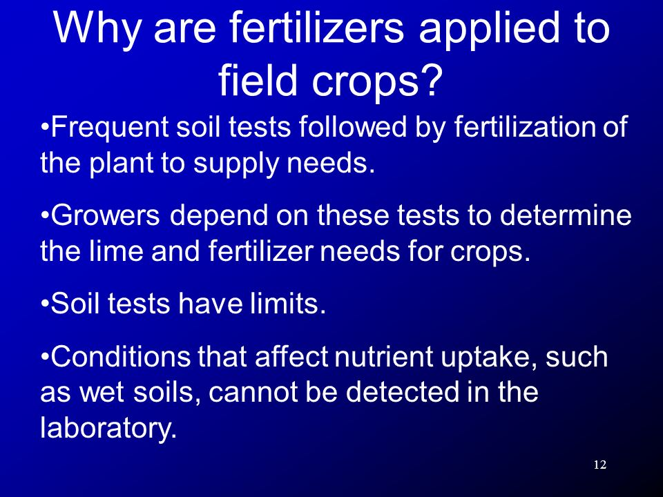 12 Frequent soil tests followed by fertilization of the plant to supply needs. Growers depend on these tests to determine the lime and fertilizer need