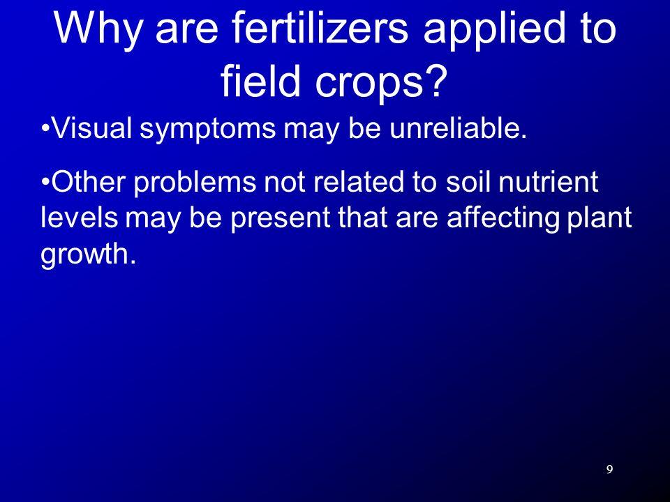 10 2.Tissue testing: measures nutrient levels in plant tissue.