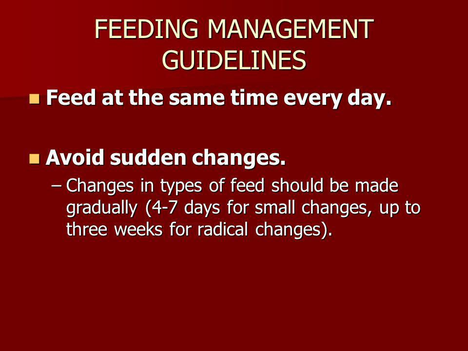 FEEDING MANAGEMENT GUIDELINES Feed at the same time every day. Feed at the same time every day. Avoid sudden changes. Avoid sudden changes. –Changes i