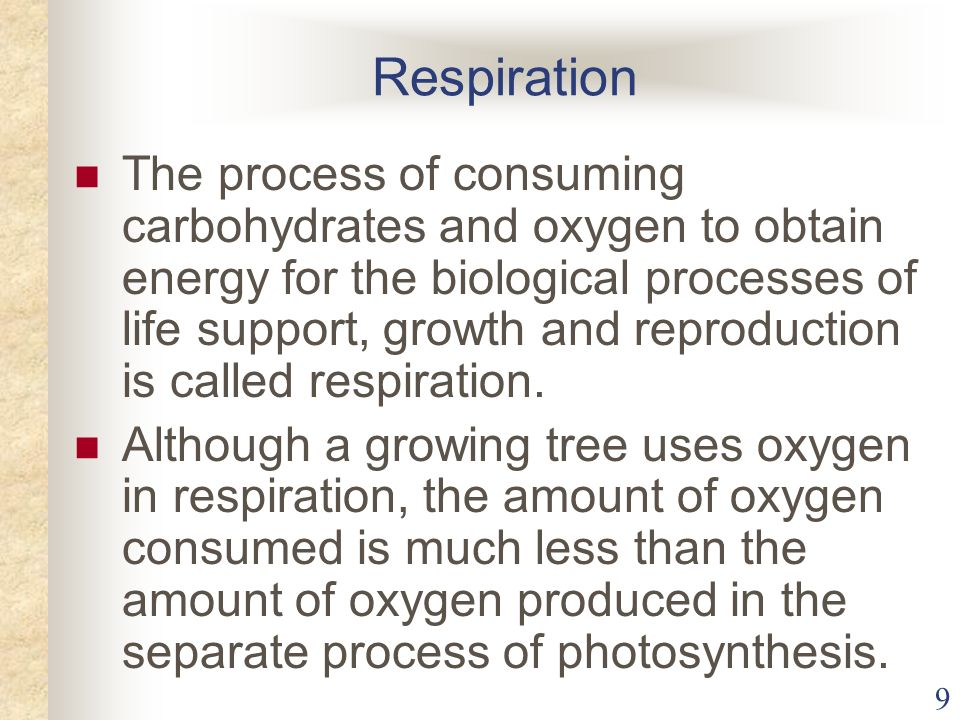 9 Respiration The process of consuming carbohydrates and oxygen to obtain energy for the biological processes of life support, growth and reproduction