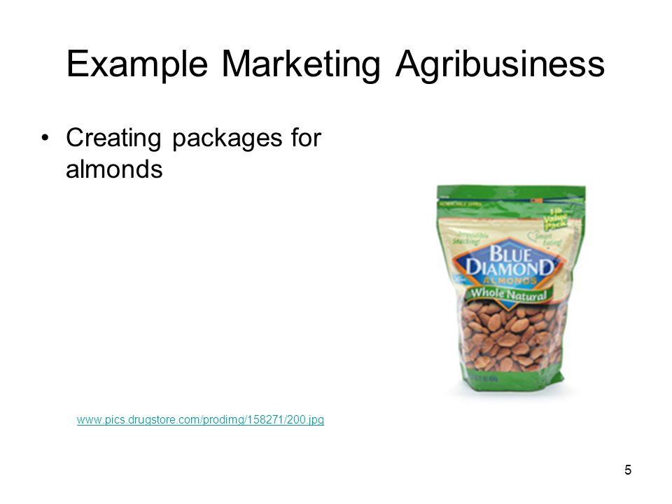 Example Marketing Agribusiness Creating packages for almonds www.pics.drugstore.com/prodimg/158271/200.jpg 5